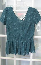 New with tag Green shirt blouse top $88 Ladies size 4 dress Anthropologie Teal