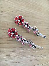 1 Pair Flower Metal Red Silver Women's Girls Hair Clips Hair Pins Hair Accessory