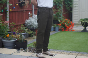 Milano Olive Slim Fit Moleskin Country Trousers for Hunting/Shooting/Fishing.