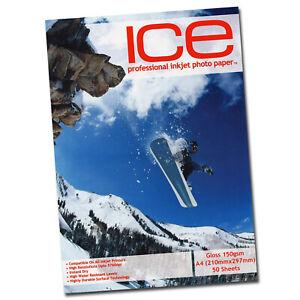 ICE A4 Glossy 150gsm Photo Paper 50 Sheets Inkjet 5760dpi Single Side Gloss Coat