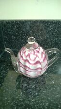 Glass Teapot Paperweight Pink Maroon Striped Good Condition