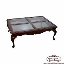 Ethan Allen Georgian Court Cherry Queen Anne Glass Top Coffee Table