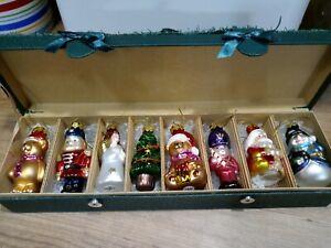 Vintage 80s Jordan Mark Collectors Set / 8 Hand Blown Glass Christmas Ornaments