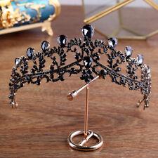 BGSPZ Luxury Vintage Black Crown Wedding Tiara Headband Bridal Hair Accessories