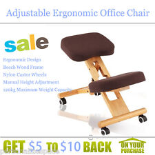 120kg Fabric Covered Adjustable Ergonomic Office Chair Beech Wood Frame-Brown