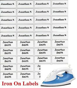 48+12 FREE White Iron On Personalised Name Clothing Labels - (22*09mm) Warm Wash