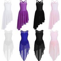 Girls Lyrical Ballet Dance Dress Kids Leotard Tutu Skirt Dancewear Party Costume