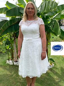 CURVY 3/4 Ivory Brautkleid Hochzeitskleid Standesamt 38 40 42 44 46 48 50 52 54
