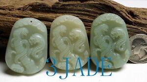 3PCS Natural Nephrite Jade Snake & Bamboo Figurine / Pendants