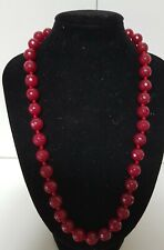 Vintage 46cm Cherry Garnet Red Faceted Glass Bead Necklace 56grams Bolt Ring