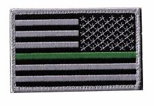 IRON-ON US flag 3.5 black/grey stars right green line patch foresters AMY-H-DPJ