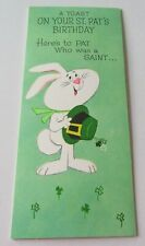 Vintage Greeting Card St Patrick's Day Bunny with Leprechaun Hat