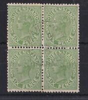 QLD167) Queensland 1890 6d Green SG 196 block of 4 CTO with gum