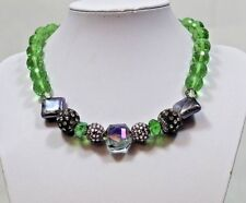 Handmade 18 inch Green Quartz Necklace with Crystals Pave Beads