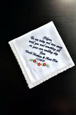 Flower girl hankerchief Embroidered Personalized Something blue handkerchief