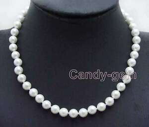 "SALE Small 8mm High Quality White Round Sea shell Pearl 17"" necklace -nec6019"