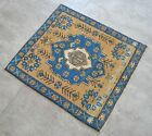 """Vintage Distressed Small Area Rug Hand Knotted Oushak Rugs Yastik -1'12""""x2'2'"""