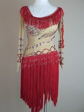 Ballroom Dance Competition Pageant Gown Salsa Nude Red Fringe Small