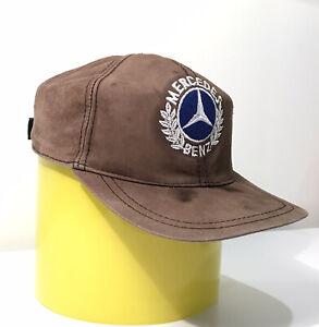 Vintage 1980s BMW Brown Suede Hat Cap Rare Velvet