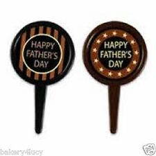 12 HAPPY FAHERS DAY DAD PARTY CUPCAKE PICKS CAKE TOPPER DECORATION 12