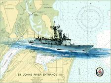 USS John L Hall FFG-32 Giclee Print of Painting on Nautical Chart by Adam Koltz