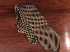 Ralph Lauren Tie Gold and Dark Green Checks Silk Cotton Blend Vintage