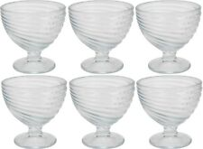 Set of 6 Large Glass Ice Cream Bowls Sundae Dishes Clear Glass With Swirl