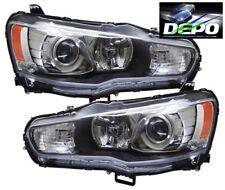 08-11 Mitsubishi Lancer Black Projector Head Light Evolution Evo X Halogen DEPO
