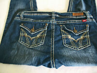 ROYALTY By YMI Bling Distressed Size 12 (35x30) Denim Jeans Straight.