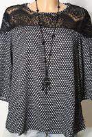 Italy Bluse Gr. M schwarz-grau Muster A-Linie Bluse/Tunika mit Häkelspitze