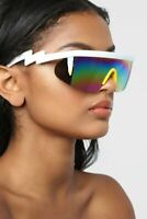 80's Goggle Sunglasses Oversized Half Rim Ski Fashion Multicolor Lens