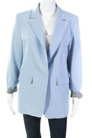 Seven Lab Womens Crystal Skull One Button Blazer Light Blue Size Large