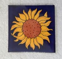 "Glossy ""Blue Sun Flower"" Mexican Talavera Ceramic Tiles 4 1/4""x 4 1/4"""
