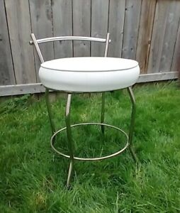 Vanity Stool Chair Bench Seat White & Chrome Makeup Chair