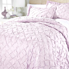 Concierge Collection Pintuck Quilt 3piece Set, Lilac, Size Full/Queen, Hsn $130