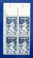 Sc # 2046 ~ Plate # Block ~ 20 cent Babe Ruth Issue (dg20)