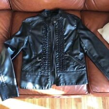 Miss Sixty Women's Black Leather Zip Front Motorcycle Jacket - Size Medium