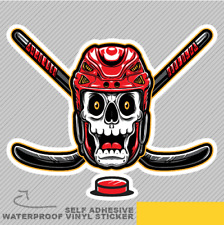 Skull Wearing Hockey Helmet and Sti Vinyl Sticker Decal Window Car Van Bike 2529