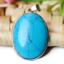 Handmade Jewelry Gift Blue Turquoise Gemstone Solid Silver Necklace Pendants