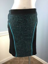 New Tricot Chic Black Blue Tweed Color Block Straight pencil Skirt US M 8 IT 44