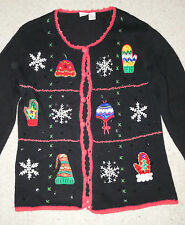 Cherokee Beautiful Ugly Christmas Holiday Embellished Cardigan Sweater Size L
