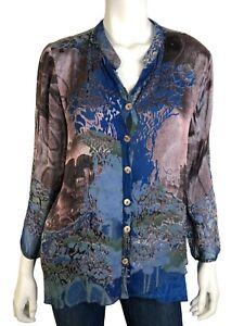 Citron Santa Monica M Top Collarless Button Front Blue Long Sleeve Silk Blend