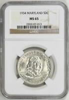 1934 Maryland Commemorative Silver Half Dollar - NGC Mint State 65 - MS-65