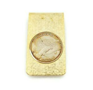 Vintage Gold Tone Money Clip With Sterling Silver 925 1776 Eagle Coin
