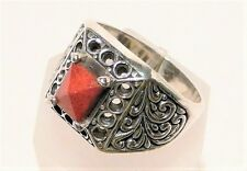 "CORAL PYRAMID RING, LARGE 18MM, 9.5gm STERLING SILVER ""NEW"" AUZ SELLER R105"