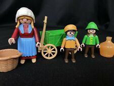 Playmobil 5501 Victorian Woman & Child With Green Pull  Cart Wagon Complete