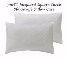 300TC Luxury Jacquard Square Check Housewife Pillow Case Pair - 100% COTTON