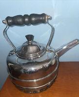 VTG Simplex Tea Kettle Teapot Chrome Covered Copper Gas Burner England 6 CUP