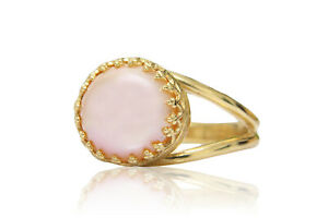 Delicate Pink Pearl in 14K Gold Over Silver Ring Band June Birthstone by Anemone