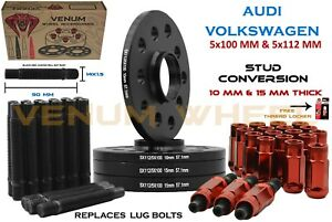 Audi Volkswagen 10MM + 15MM Wheel Spacers 57.1 Kit +14x1.5 Red Stud Conversion
